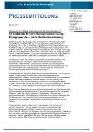 PRESSEMITTEILUNG - Impulse für den Wohnungsbau