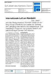 Internationale Luft am Rämibühl - Impuls Mittelschule