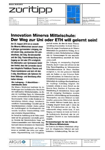 Innovation Minerva Mittelschule: - Impuls Mittelschule