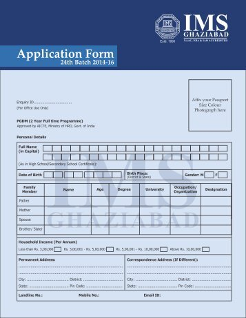 Download Application Form - IMS Ghaziabad