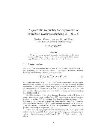 A quadratic inequality for eigenvalues of Hermitian matrices ...