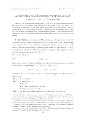 M. Deistler, A. Filler, and B. Funovits - The Institute of Mathematical ...