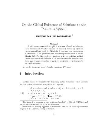 On the Global Existence of Solutions to the Prandtl's System