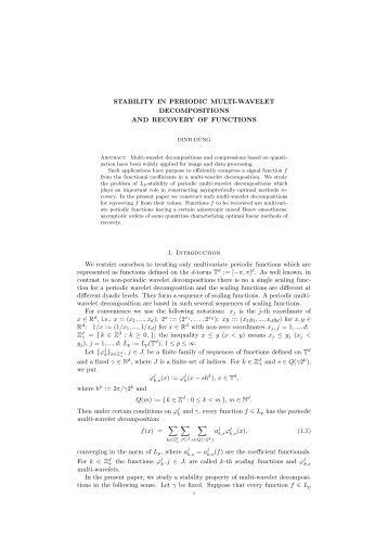 STABILITY IN PERIODIC MULTI-WAVELET DECOMPOSITIONS ...