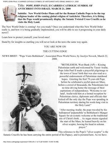 Pope john paul ii carries catholic symbol of antichrist