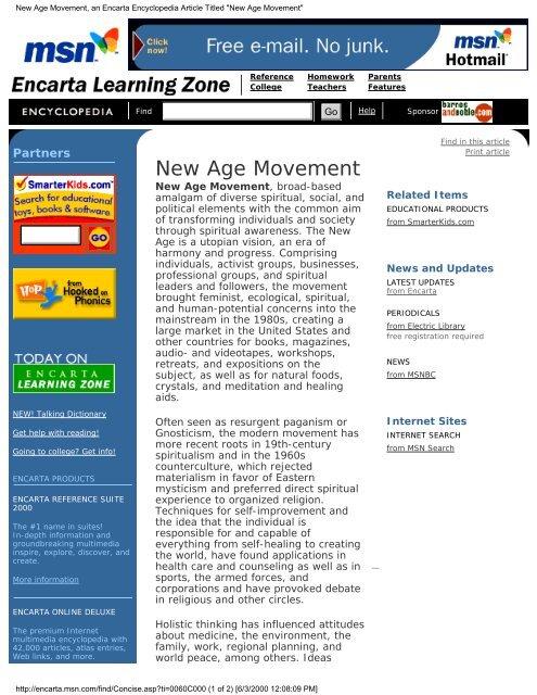New Age Movement, an Encarta Encyclopedia Article Titled
