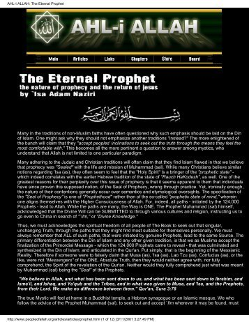 AHL-i ALLAH: The Eternal Prophet - Shri Adi Shakti: The Kingdom ...
