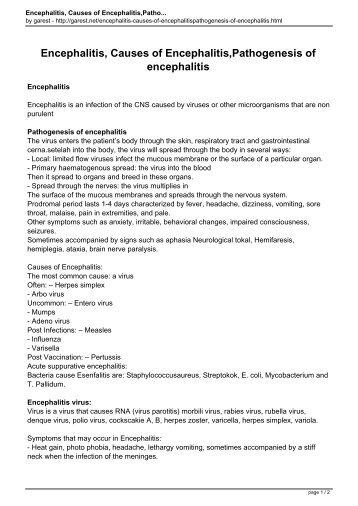 Encephalitis, Causes of Encephalitis,Pathogenesis of encephalitis