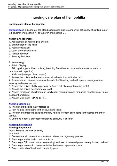 nursing care plan of hemophilia