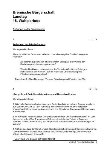 Text der Fragen - Bremische Bürgerschaft