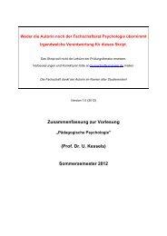 Zusammenfassung zur Vorlesung (Prof. Dr. U. Kessels ...