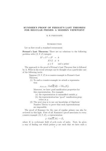 KUMMER'S PROOF OF FERMAT'S LAST THEOREM FOR ...