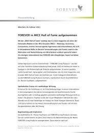 Pressemitteilung: FOREVER in MICE Hall of Fame aufgenommen.