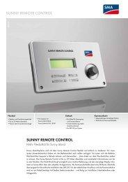 SUNNY REMOTE CONTROL - SMA Solar Technology AG