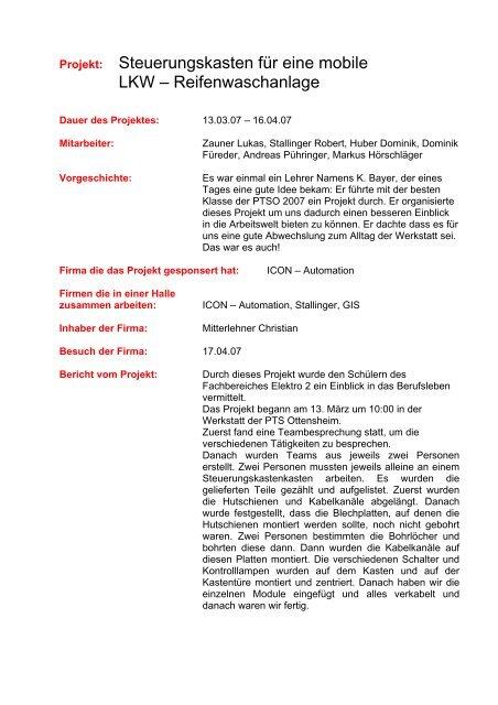 Beispiel Projektbericht Imst