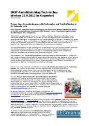 Fachdidaktiktag Technisches Werken 2012 in Klagenfurt - IMST