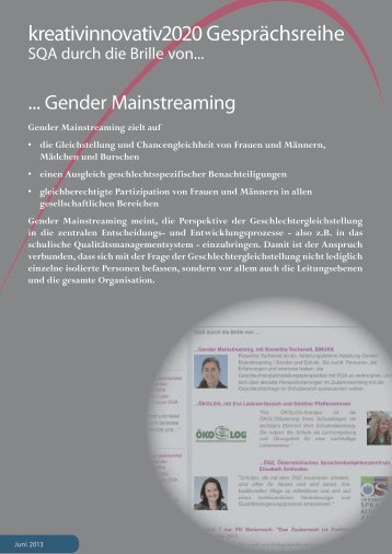 SQA durch die Brille von Gender Mainstreaming - IMST