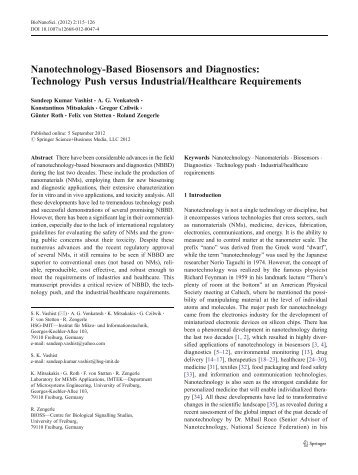 Nanotechnology-Based Biosensors and Diagnostics ... - IMTEK