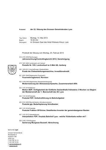 der 22. Sitzung des Grossen Gemeinderates Lyss ... - Gemeinde Lyss