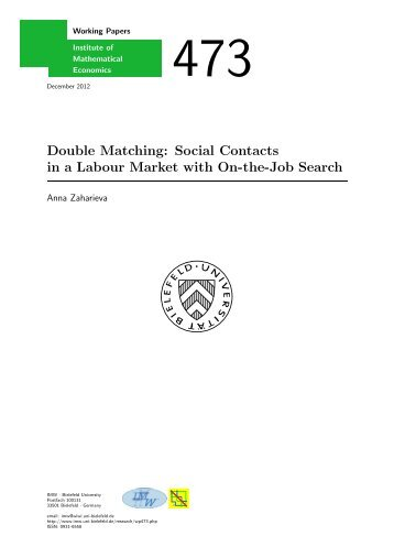 Double Matching: Social Contacts in a Labour Market - Center for ...