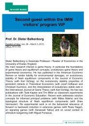 Prof. Dr. Dieter Balkenborg - Center for Mathematical Economics