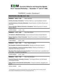 EBIM Economic Behavior and Interaction Models - Universität ...