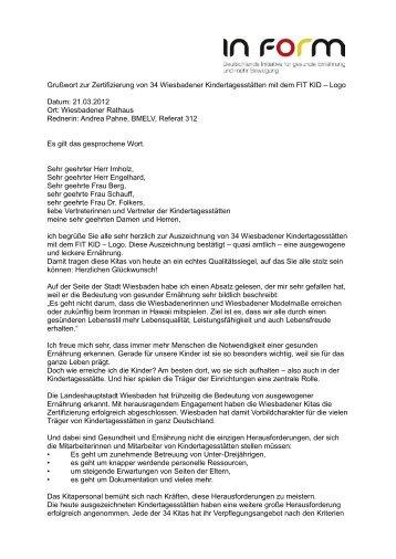 Grußwort zur Zertifizierung von 34 Wiesbadener ... - In Form