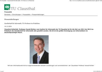 TU Clausthal - Gesellschaft... - Institut für Informatik