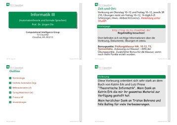 Informatik III (Automatentheorie und formale Sprachen) - TU Clausthal