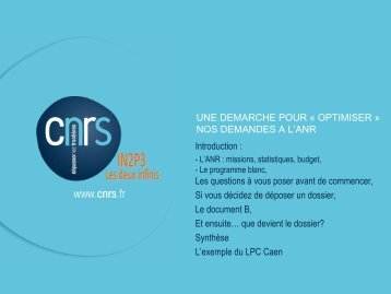 projets ANR - IN2P3