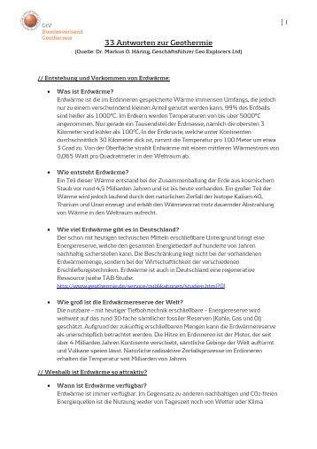 33 Antworten zur Geothermie