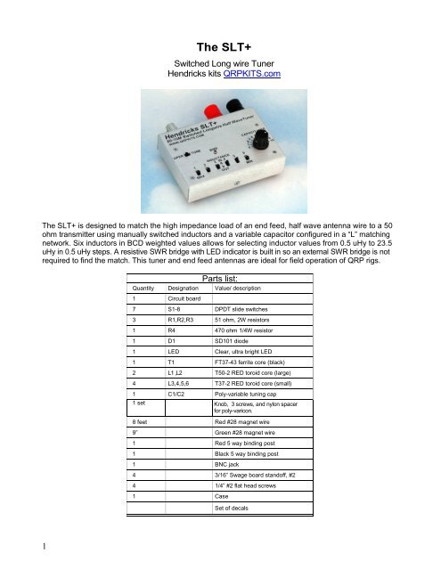 Switched Longwire Tuner Plus Builders manual (rev 4/17/09)