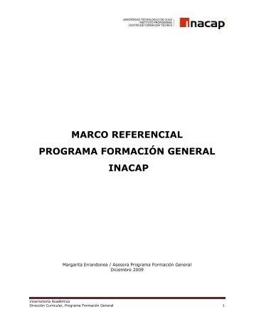 Programa Formación General, Marco referencial - Inacap