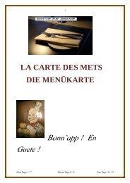 LA CARTE DES METS -  DIE MENÜKARTE