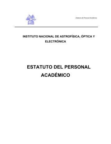 ESTATUTO DEL PERSONAL ACADÉMICO - inaoe