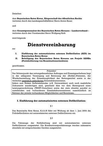Dienstvereinbarung - Bayerisches Rotes Kreuz