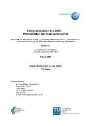 Energieszenarien bis 2030: Wärmebedarf der Kleinverbraucher - EEG