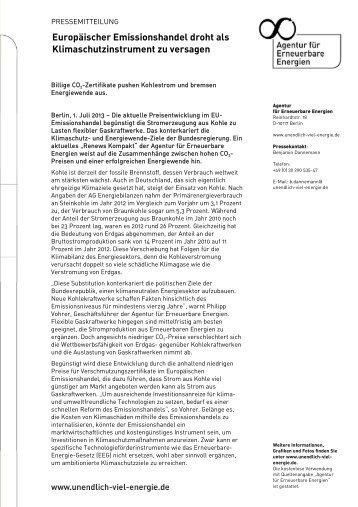 Europäischer Emissionshandel droht als ... - Biogas-Infoboard
