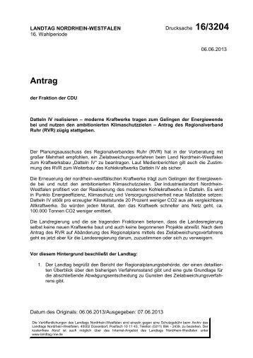 Antrag Drucksache 16/3204 - CDU Landtagsfraktion NRW