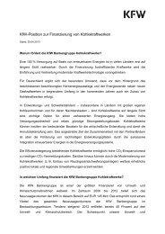Kohlekraftwerksfinanzierung (PDF, 47 KB, nicht barrierefrei) - KfW