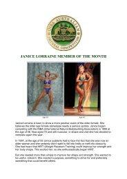 JANICE LORRAINE MEMBER OF THE MONTH - INBA