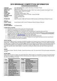 2010 MELBOURNE COMPETITION INFORMATION - INBA
