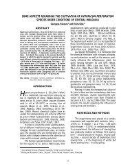 some aspects regarding the cultivation of hypericum perforatum ...