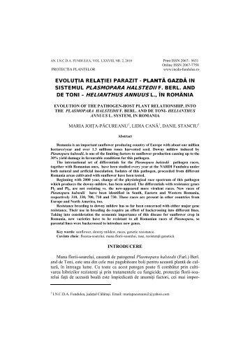 planta gazda, in sistemul plasmopara halstedii f