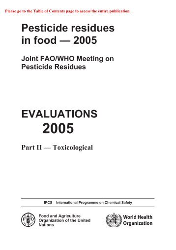 Pesticide residues in food — 2005 EVALUATIONS - ipcs inchem