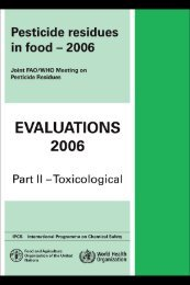 Pesticide residues in food — 2006: Toxicological ... - ipcs inchem