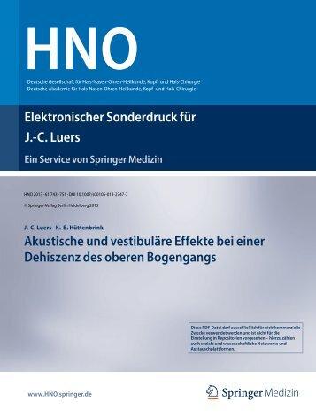 Sonderdruck (PDF) - Klinik und Poliklinik für Hals-, Nasen-, Ohren ...