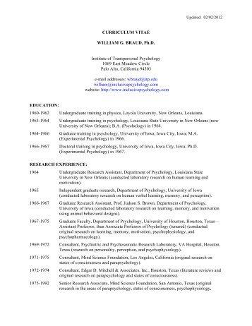 CURRICULUM VITAE WILLIAM G. BRAUD, Ph.D. Institute of ...