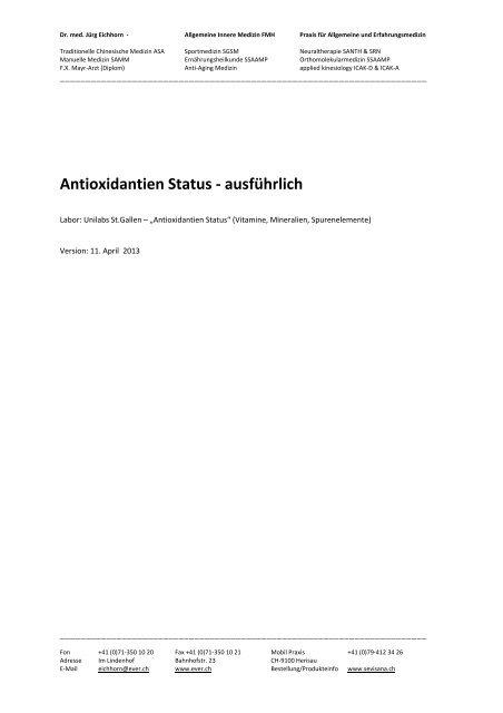 Antioxidantien Status - ausführlich - Ever.ch