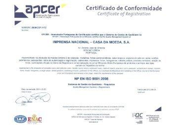 Certificado de Conformidade - Imprensa Nacional-Casa da Moeda